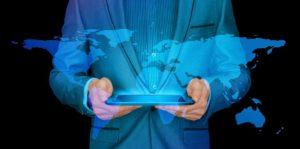 Homme D'Affaires, Internet, Continents, Tablette, Monde