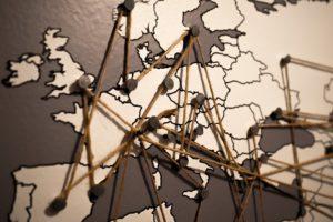 Monde, Europe, Carte, Connexions, Réseau, Continent